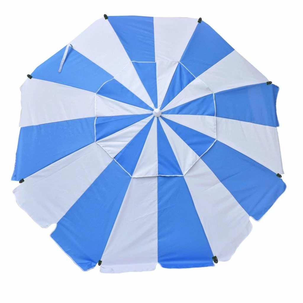 blue white umbrella